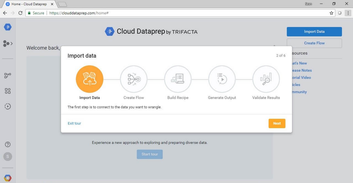 The landing page for Cloud Dataprep with easy onboarding experience