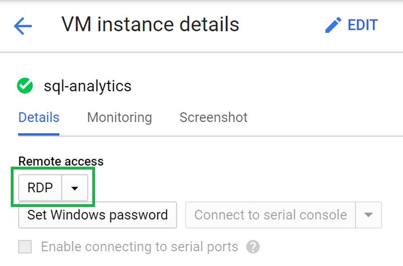 SQL Analytics VM details