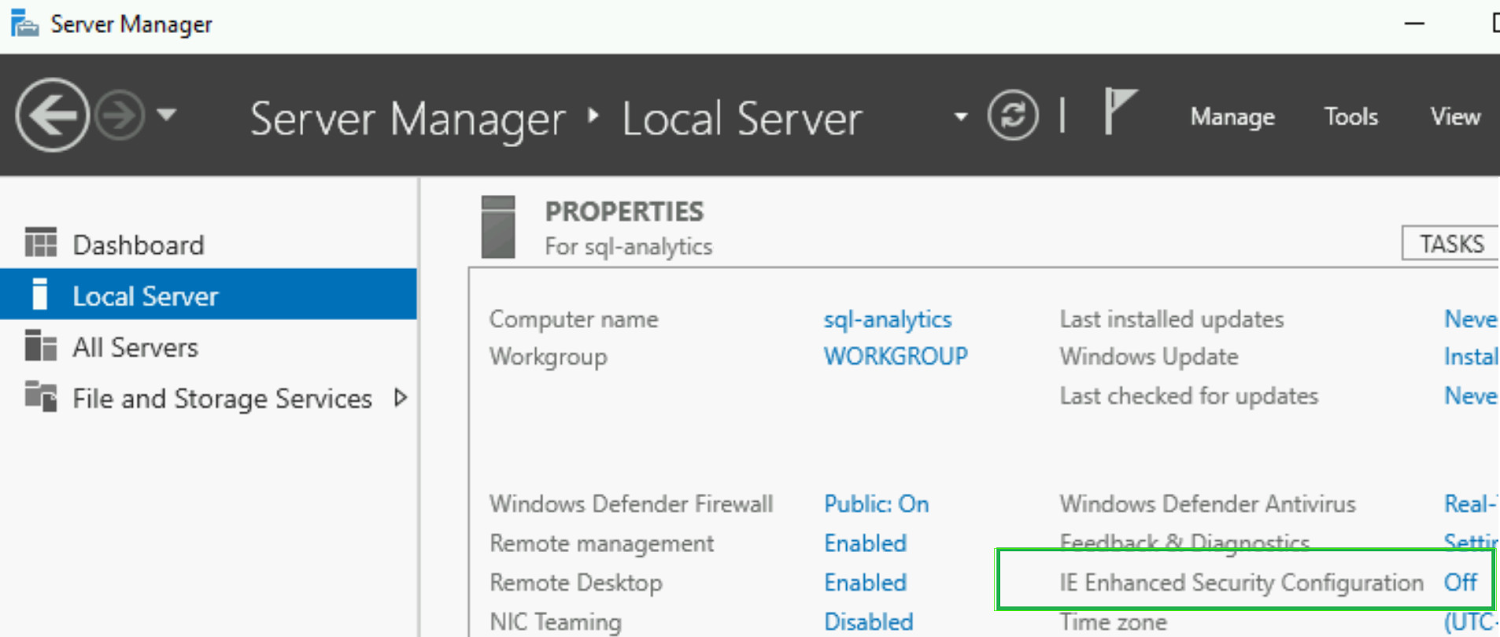Turn off IE security settings on Windows VM instance