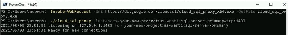 Powershell run Cloud SQL Auth proxy