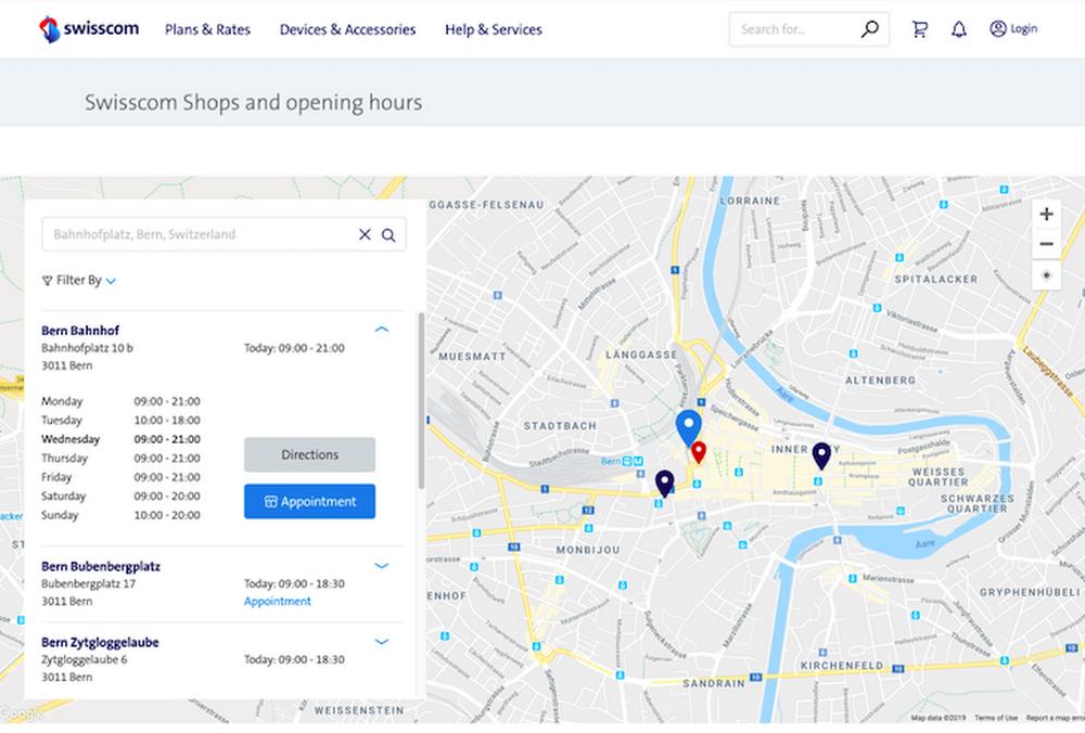 Swisscom Store Locator