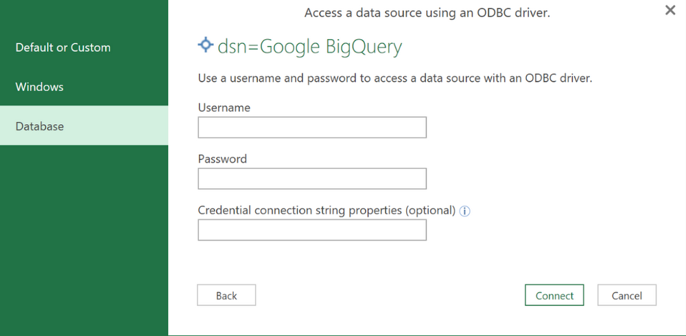How to connect BigQuery to Microsoft Excel® and other apps with our