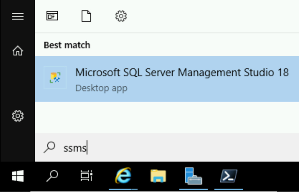 Search for SSMS and run it
