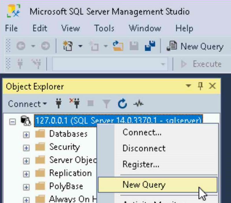 Select database in SSMS and choose new query