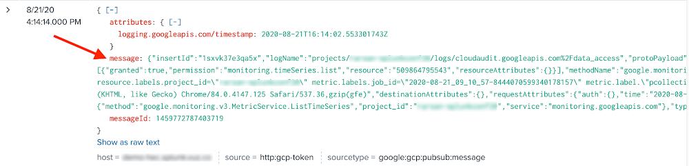 Splunk-indexed Google Cloud log - before