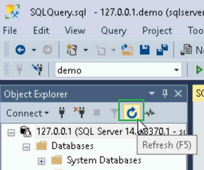SSMS refresh connection