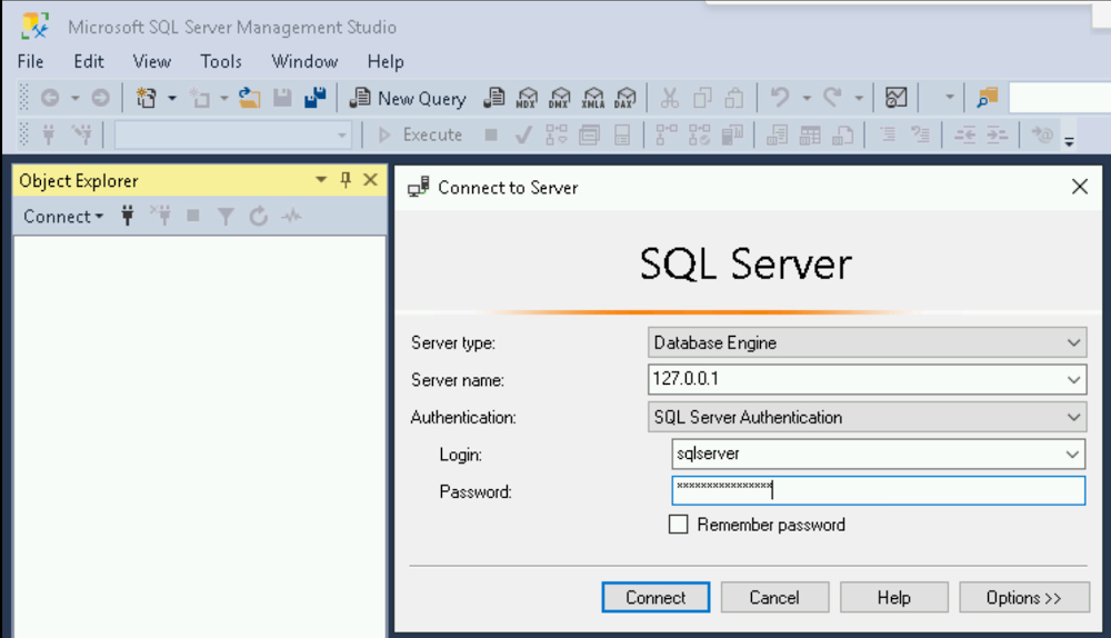 SSMS Connect to server dialog window