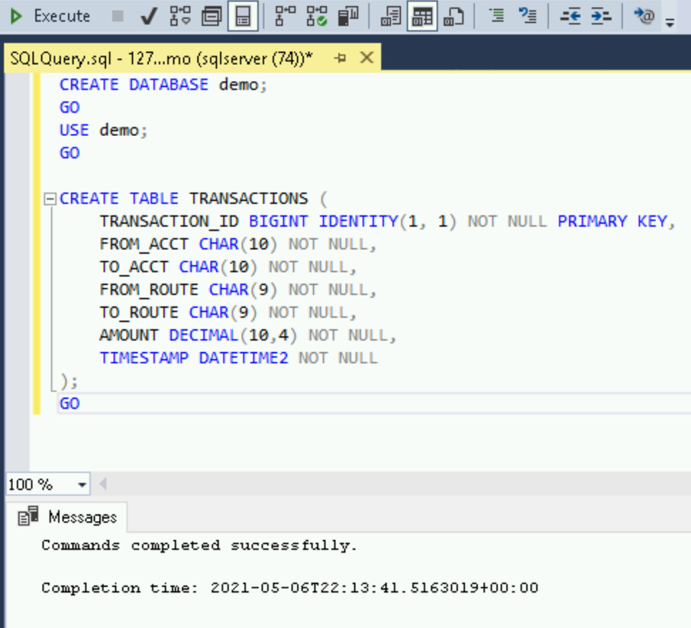 Execute database and table create SQL