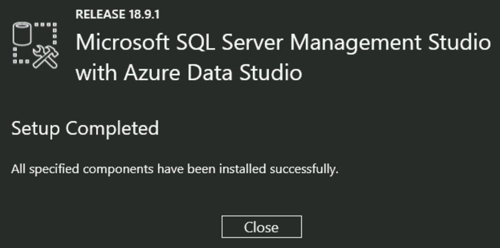 SSMS install complete dialog window