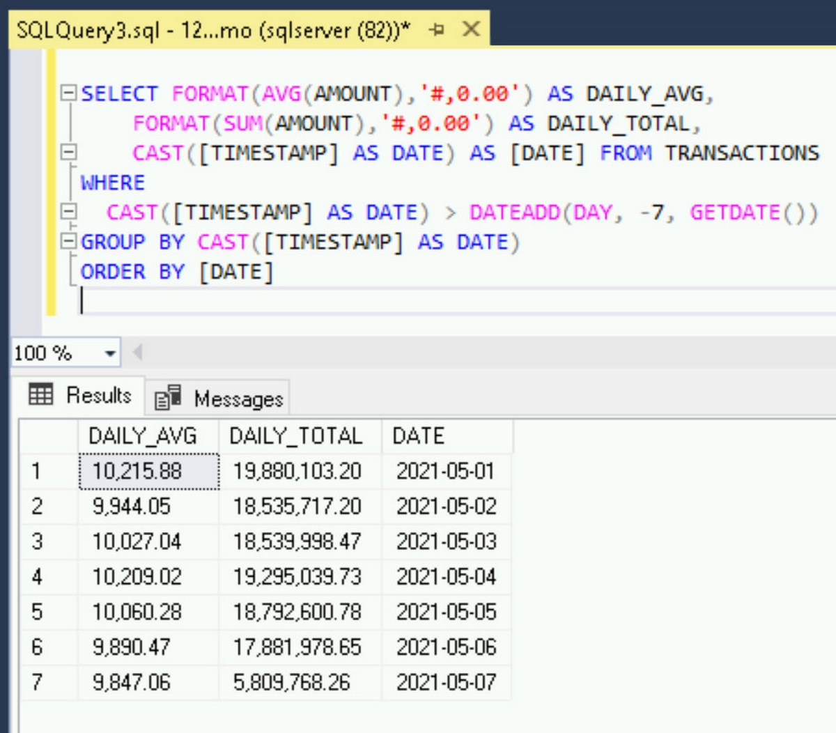 SSMS query Transactions table