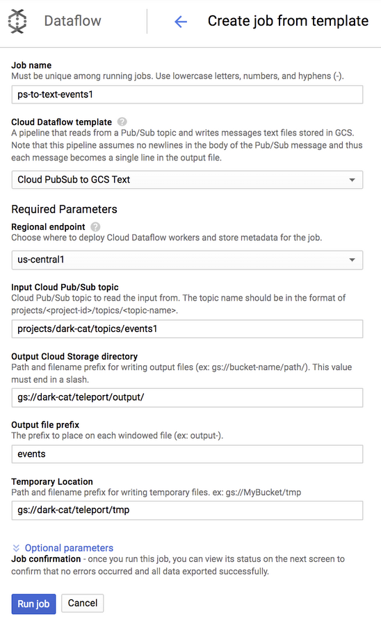 Dataflow template configuration page