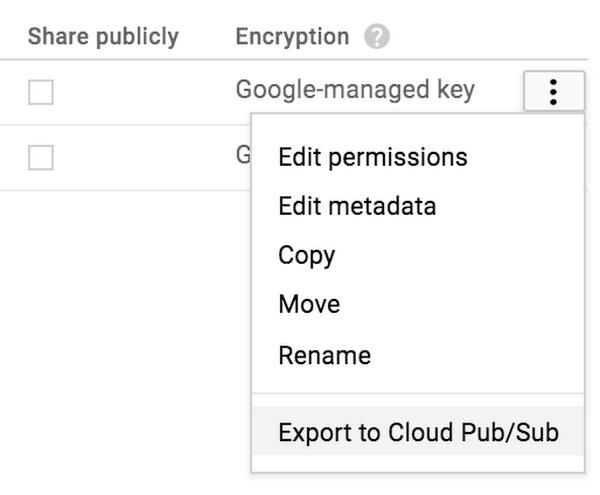 Cloud Storage browser export menu