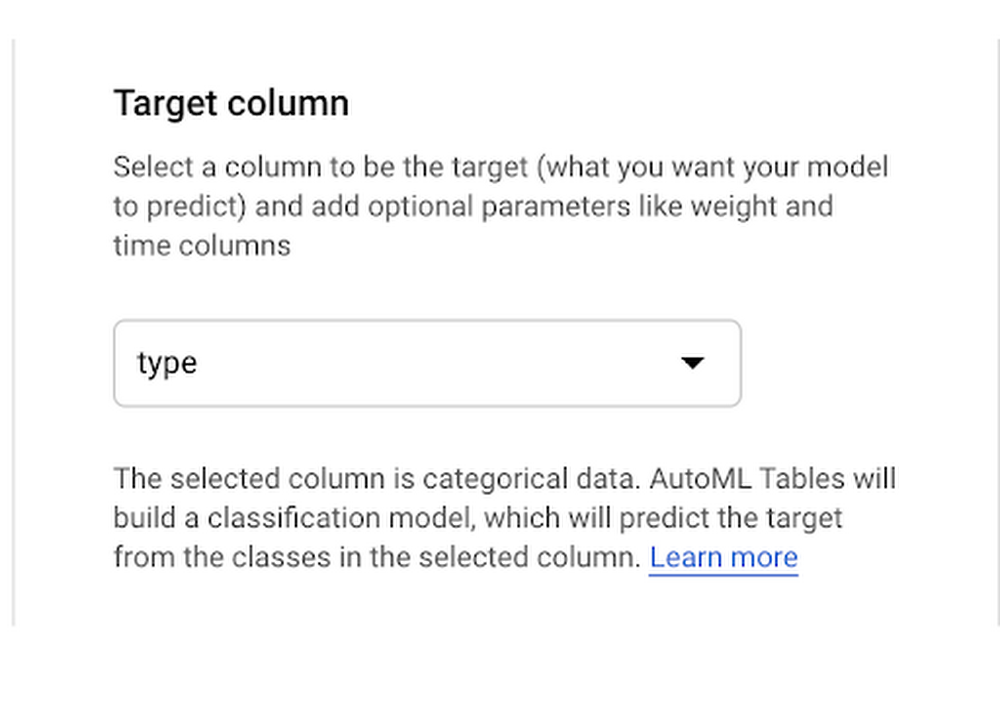 Target column