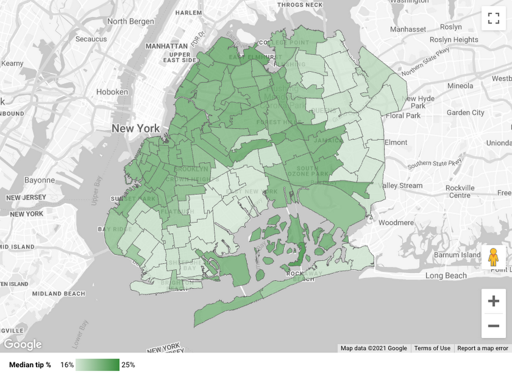 NYC Taxi Zone map in Data Studio