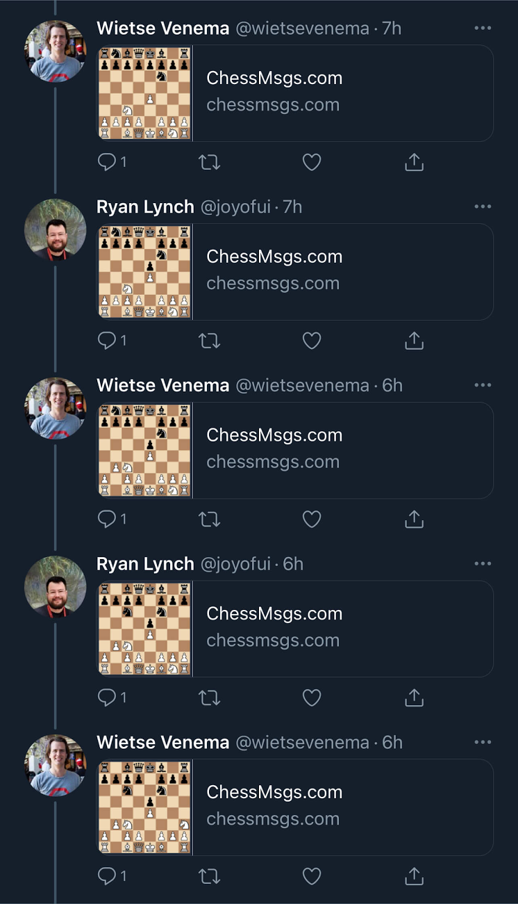 ChessMsgs game on Twitter