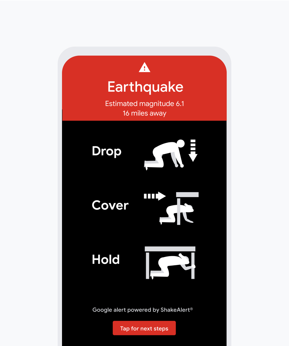 Earthquake alert on Android phone.