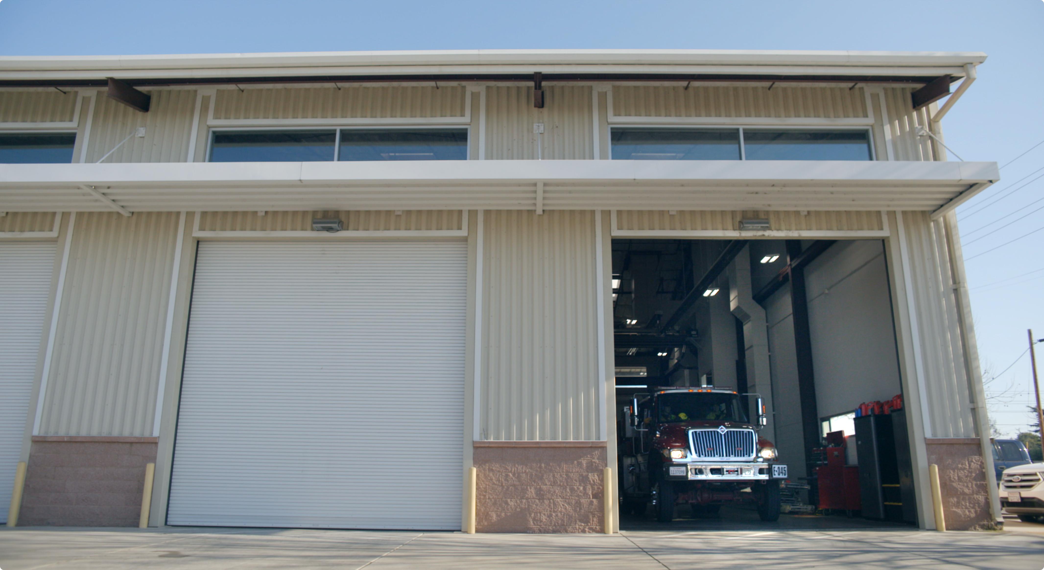 Fire department garage.
