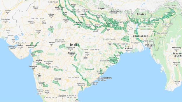 Map showing India and Bangladesh.