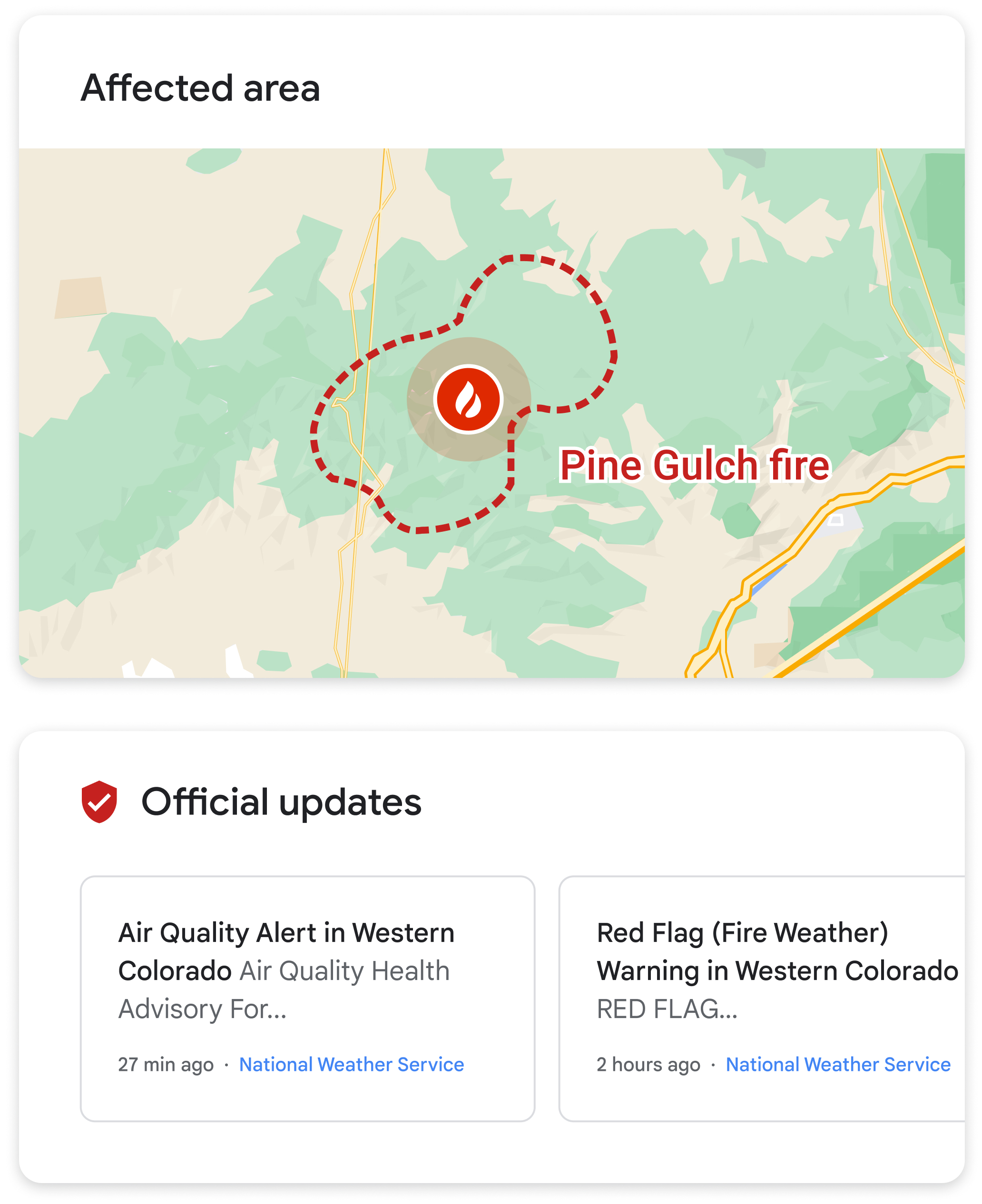 Wildfire boundary map visual within the SOS alert