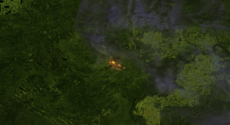 Animation showing wildfire mapping technology.