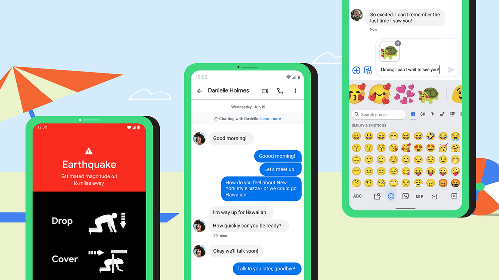 Phone screens of earthquake alerts, end-to-end encryption and Emoji Kitchen shown over a beach background