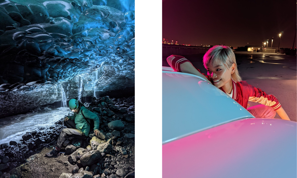 hoto of a hiker sitting in a dark ice cave and photo of a woman leaning on a pink and white car at night.