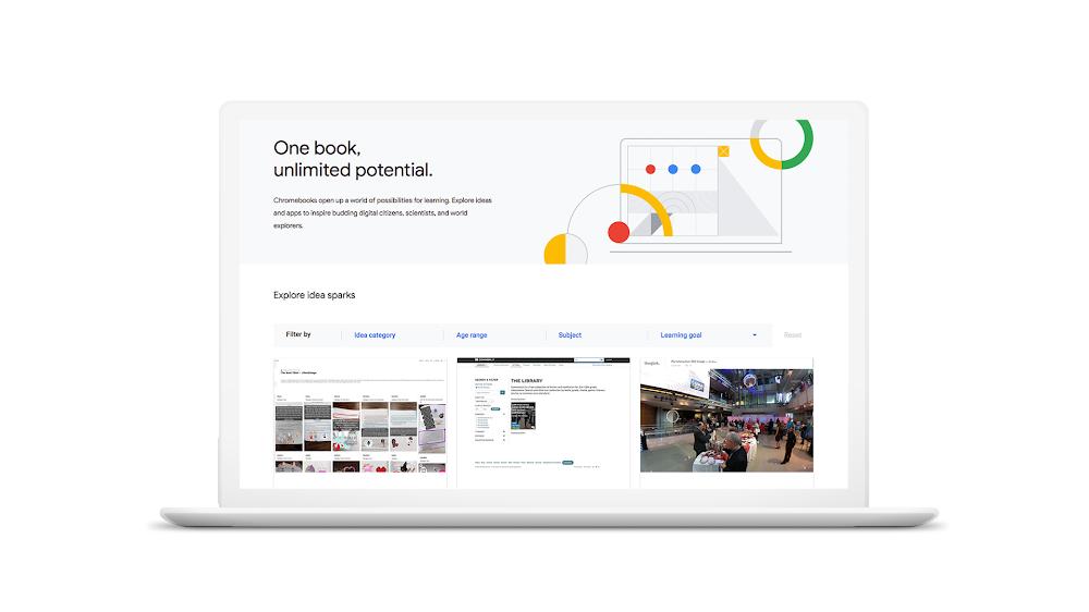 Ideas page on the Chromebook App Hub