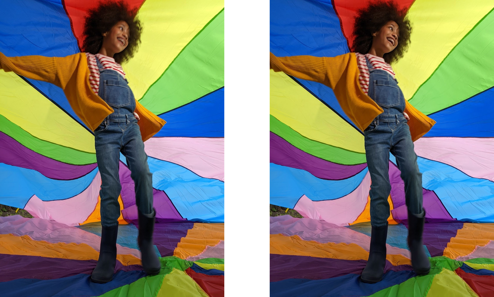 Alt text: Photo of a young girl playing under a colorful awning.