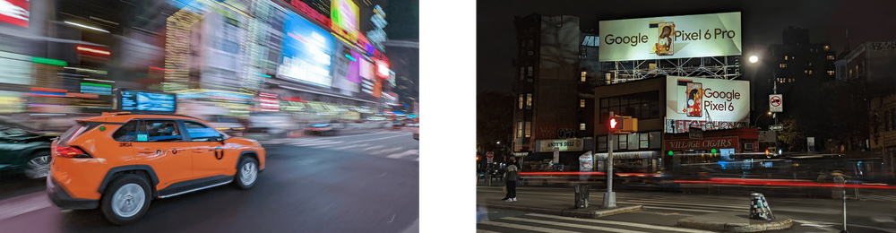 Photo of a city street with streaks of light from taillights and a NYC cab zipping through Manhattan.