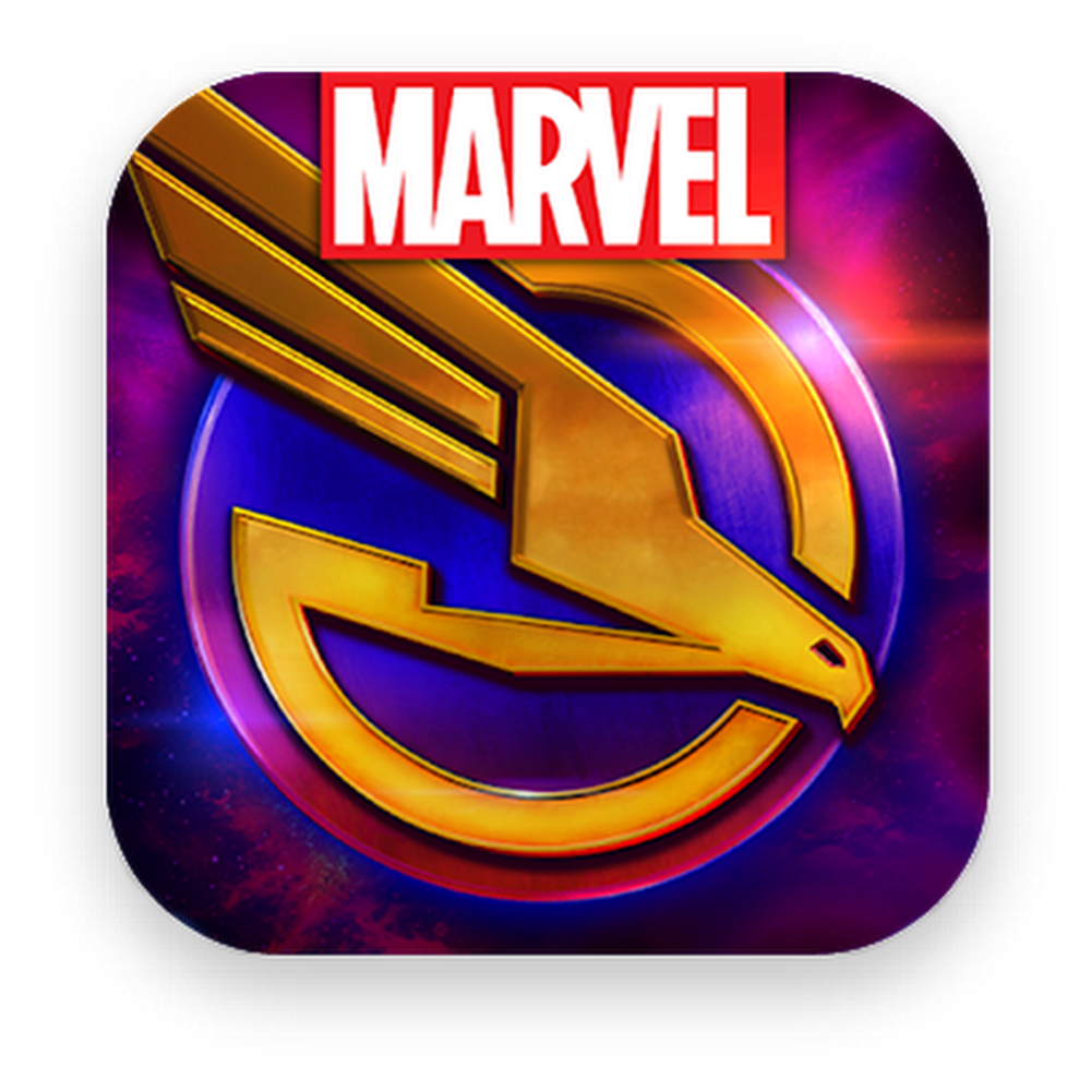 Marvel logo with colorful background