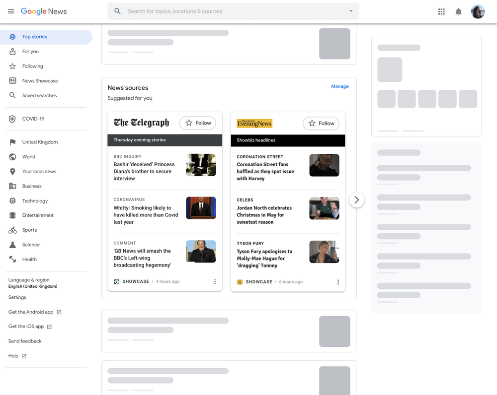 This image shows the desktop experience for News Showcase readers with our rundown panels.