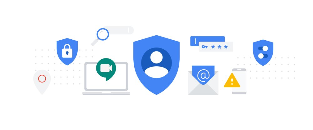 Images of Google products like Password Manager and Meet.
