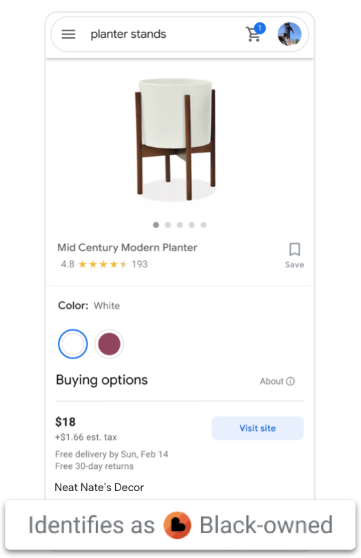 An animation showing a search for planter stands and a store that identifies as Black-owned in the shopping tab results.