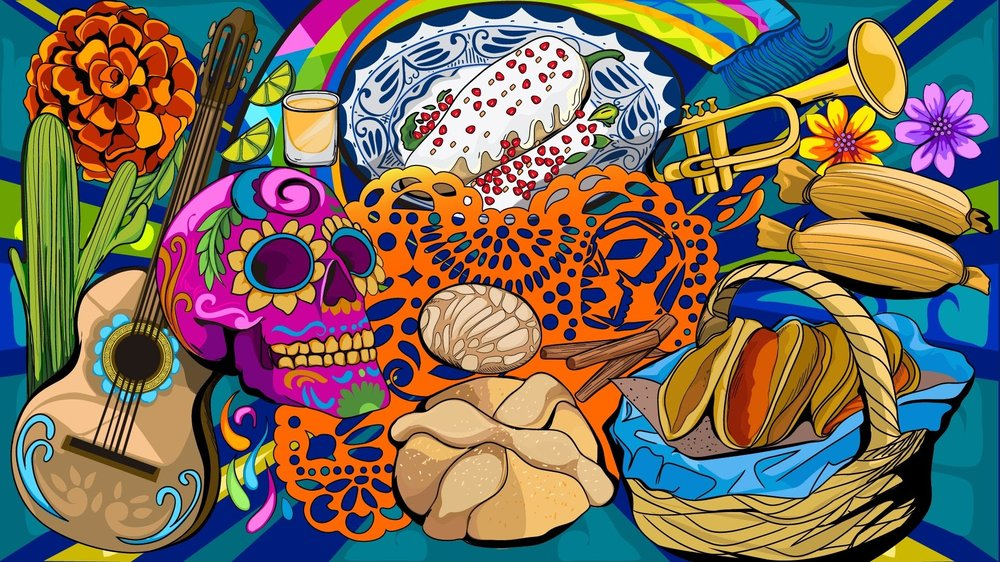 An illustration featuring a skull, a guitar, a cactus and various foods