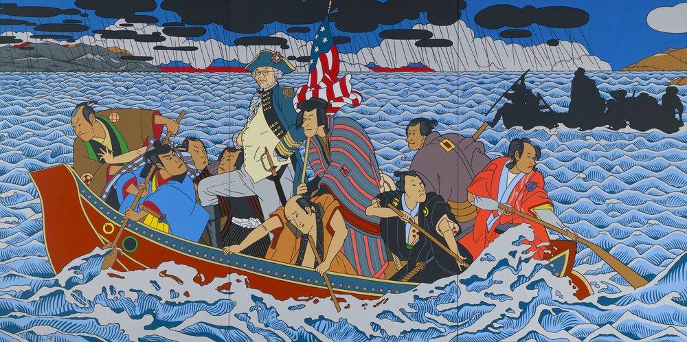 2010 painting Shimomura Crossing the Delaware by artist Roger Shimomura