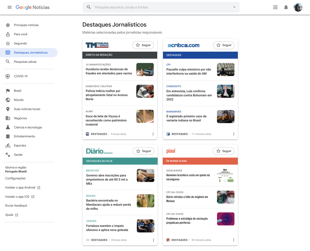 This image shows an example of how Google News Showcase will look on desktop with different panels from our partners