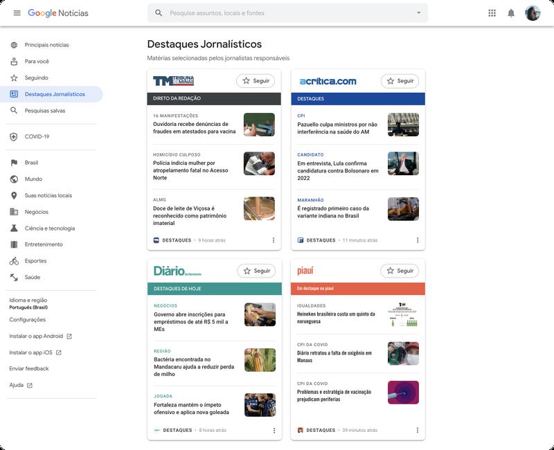 Schermata di Google News Showcase Brasile