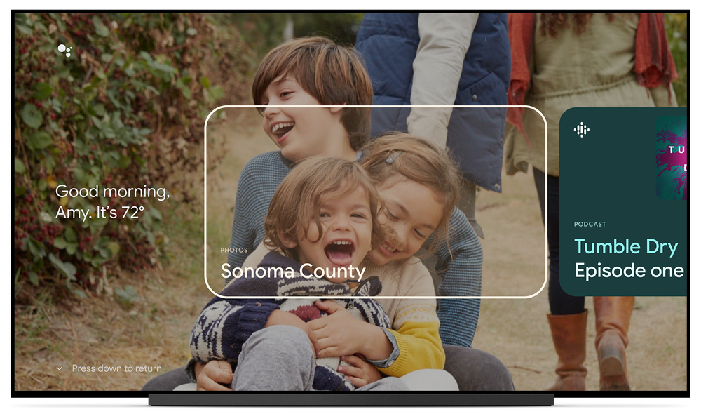 TV screen showing a photo of three kids as the background, with a rectangle square overlay naming the location.