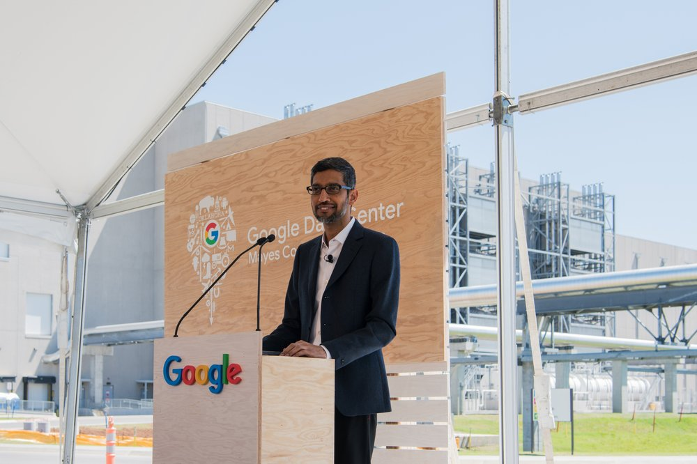 Sundar Pichai speaking at Google's Mayes County, Okla., data center expansion event.