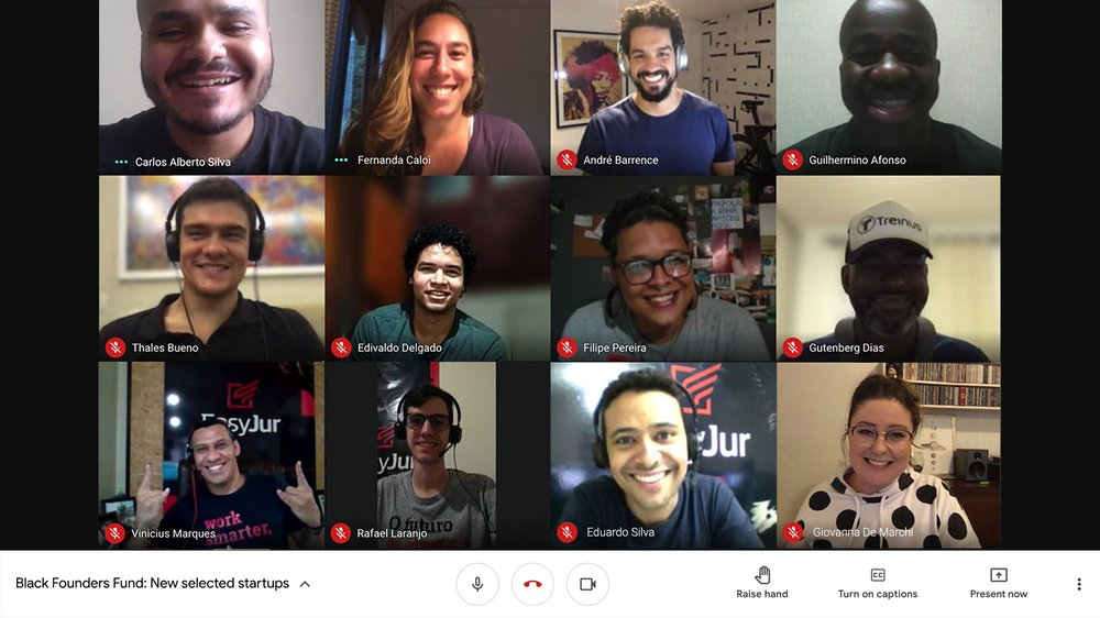 Google employees and startup founders on a video call