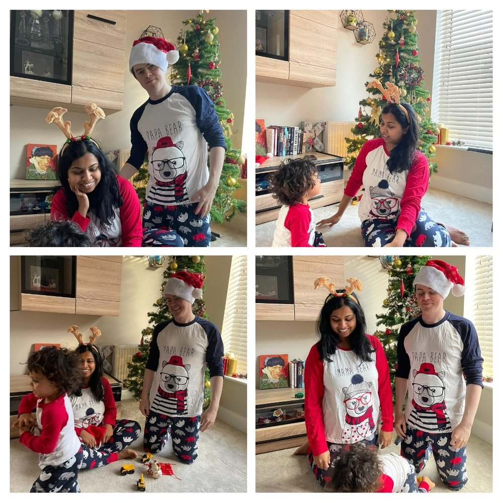"""Set of four photos of Krithika, her husband, and their toddler posing indoors in front of a Christmas tree. The family wear matching pajamas that read, """"Mama bear,"""" and """"Papa Bear."""""""