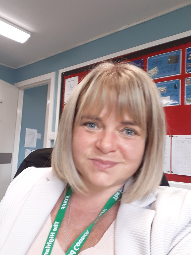 Janice at her desk at Muirtown Primary School in Scotland.