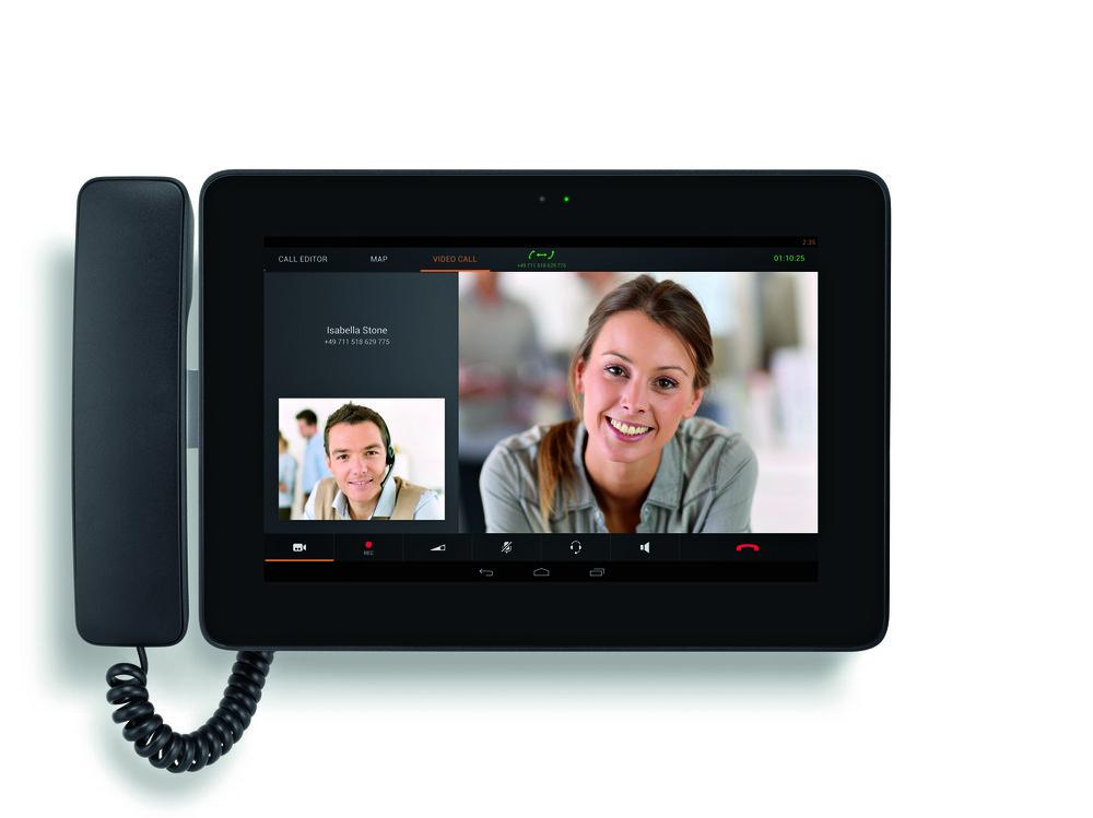 Frontansicht des Gigaset Maxwell 10, das Videotelefonie auf Android-Basis bietet