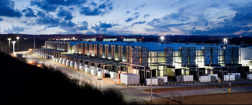 A photo of a Google data center's exterior.