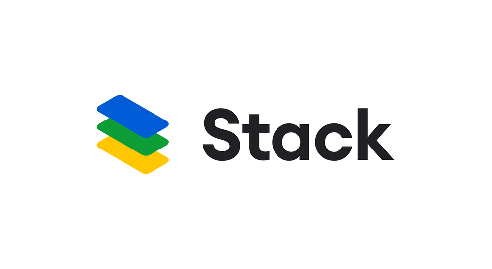 Stack's logo, which has blue, green and yellow rectangles stacked on one another near the word Stack