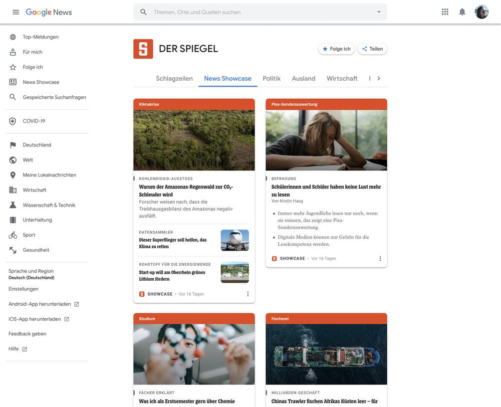 This image shows an example of how a News Showcase publishers' landing page will look, in this example we're showing our partner Der Spiegel in Germany.