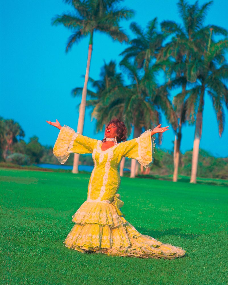 Singer Celia Cruz standing on grass wearing a yellow gown, arms outstretched and singing.