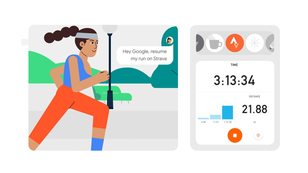 Google Assistant activates Strava to help a character track her run time and distance