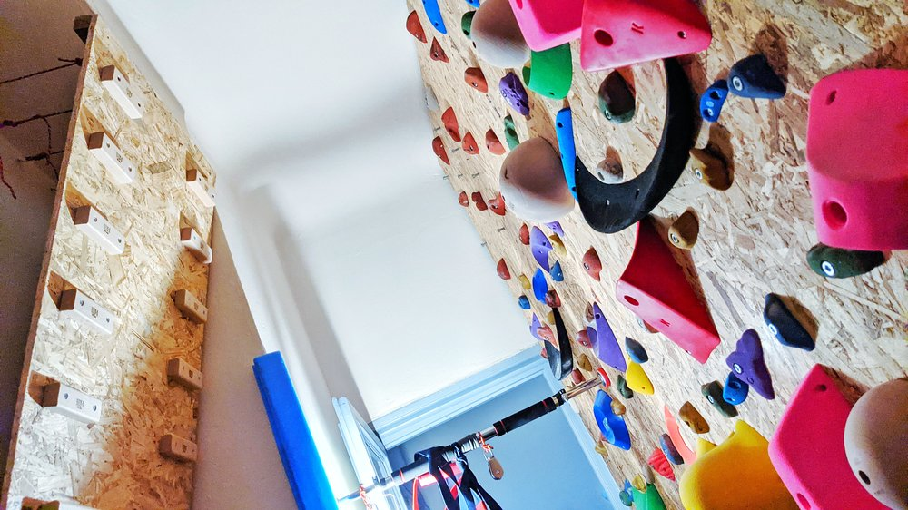 Photo showing a climbing wall in the hallway of a home.