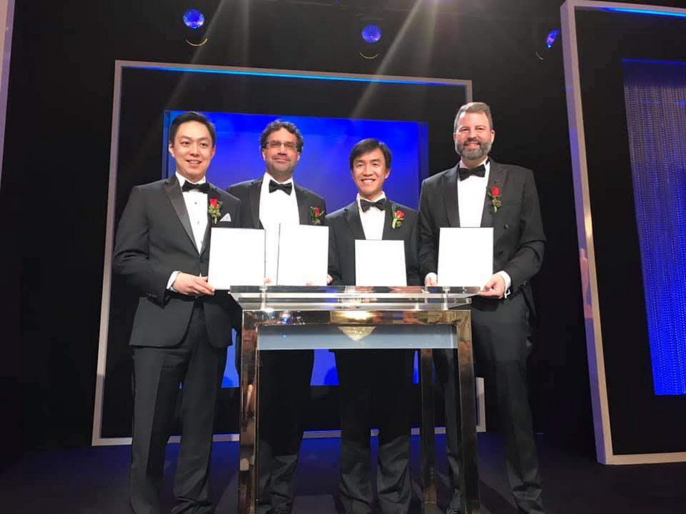 Ma, Hawkins, Yu and Debevec on stage at the Academy Sci-Tech Awards.